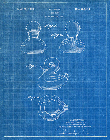 An image of a(n) Rubber Ducky 1949 - Patent Art Print - Blueprint.