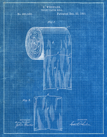 An image of a(n) Toilet Paper Roll 1891 - Patent Art Print - Blueprint.
