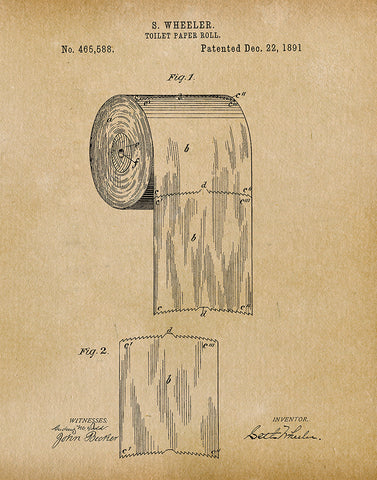 Patent art prints tagged bathroom fresh prints of ct an image of an toilet paper roll 1891 patent art print malvernweather Images