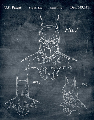 An image of a(n) Batman Mask 1992 - Patent Art Print - Chalkboard.