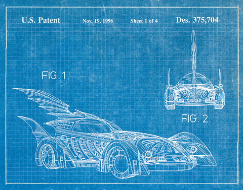 An image of a(n) Batmobile 1996 - Patent Art Print - Blueprint.