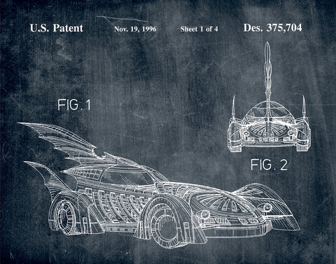 An image of a(n) Batmobile 1996 - Patent Art Print - Chalkboard.