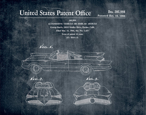 An image of a(n) Batmobile 1966 - Patent Art Print - Chalkboard.
