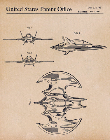 An image of a(n) Batwing 1991 - Patent Art Print - Parchment.