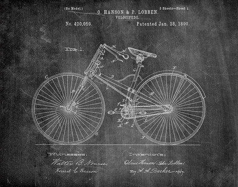 An image of a(n) Velocipede Bicycle 1890 - Patent Art Print - Chalkboard.