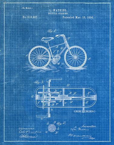 An image of a(n) Bicycle Gearing 1894 - Patent Art Print - Blueprint.