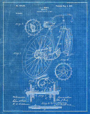 An image of a(n) Bicycle 1899 - Patent Art Print - Blueprint.