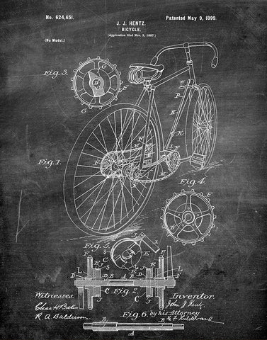 An image of a(n) Bicycle 1899 - Patent Art Print - Chalkboard.