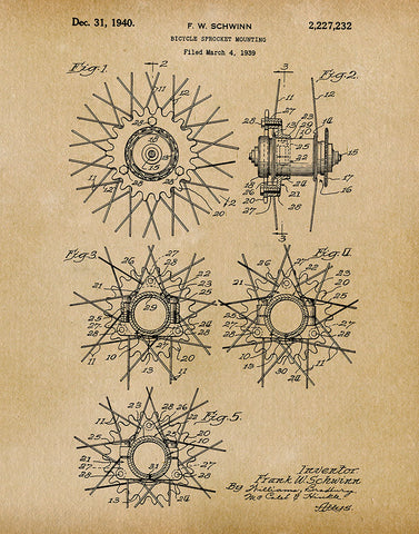 An image of a(n) Schwinn Bicycle Sprocket 1939 - Patent Art Print - Parchment.