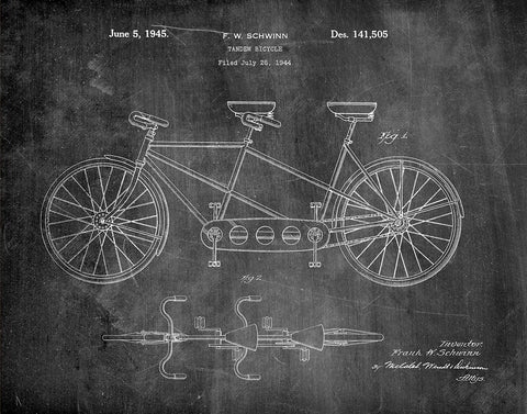 An image of a(n) Schwinn Tandem Bicycle 1944 - Patent Art Print - Chalkboard.