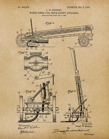 An image of a(n) Water Tower 1905 - Patent Art Print - Parchment.