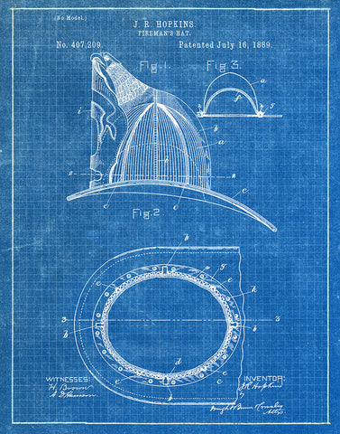 An image of a(n) Fireman's Hat 1889 - Patent Art Print - Blueprint.