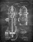 An image of a(n) Fire Hydrant 1903 - Patent Art Print - Chalkboard.