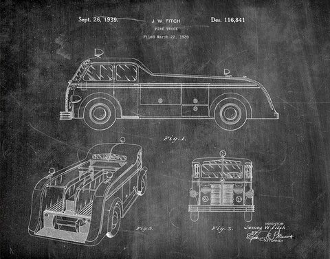 An image of a(n) Fire Truck 1939 - Patent Art Print - Chalkboard.
