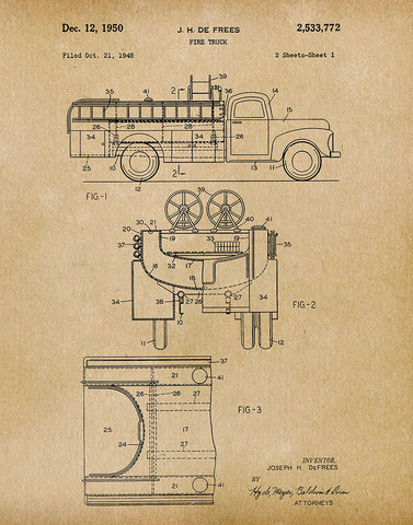 An image of a(n) Fire Truck 1950 - Patent Art Print - Parchment.