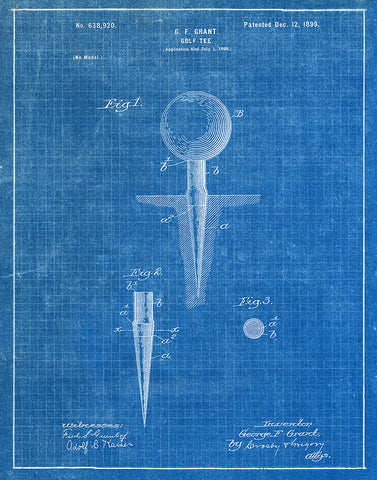 Golf tee 1899 patent art print blueprint fresh prints of ct an image of an golf tee 1899 patent art print blueprint malvernweather