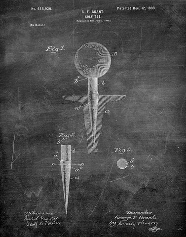 An image of a(n) Golf Tee 1899 - Patent Art Print - Chalkboard.