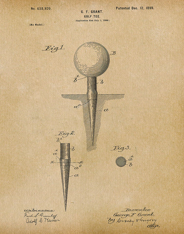 An image of a(n) Golf Tee 1899 - Patent Art Print - Parchment.