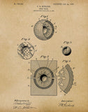An image of a(n) Golf Ball 1905 - Patent Art Print - Parchment.