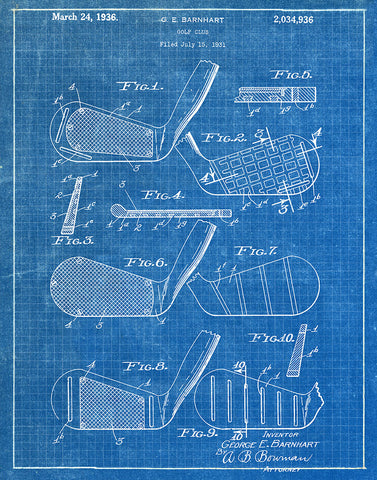 Golf club 1936 patent art print blueprint fresh prints of ct an image of an golf club 1936 patent art print blueprint malvernweather