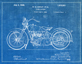 An image of a(n) Harley Motorcycle 1928 - Patent Art Print - Blueprint.