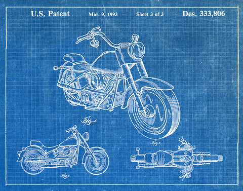 Patent art prints tagged motorcycles fresh prints of ct an image of an harley motorcycle 1993 patent art print blueprint malvernweather Images