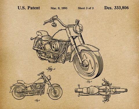 An image of a(n) Harley Motorcycle 1993 - Patent Art Print - Parchment.