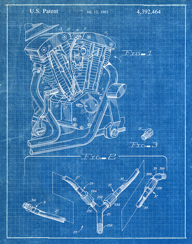 An image of a(n) Harley Cylinder Head 1983 - Patent Art Print - Blueprint.