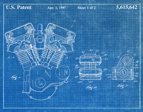 An image of a(n) Harley Engine 1997 - Patent Art Print - Blueprint.