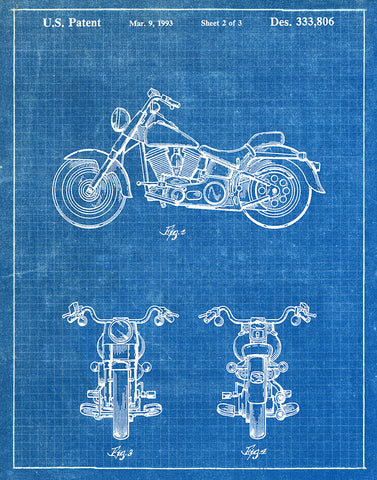An image of a(n) Harley Davidson Motorcycle 1993 - Patent Art Print - Blueprint.
