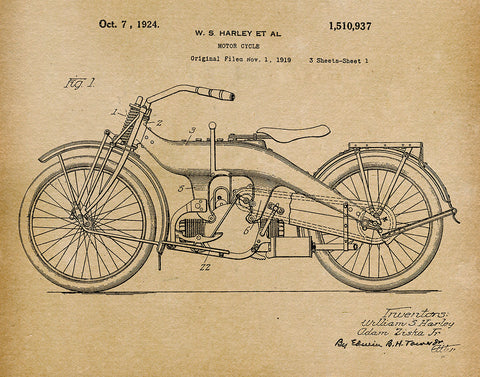 An image of a(n) Harley Motorcycle 1924 - Patent Art Print - Parchment.