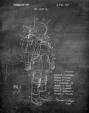 An image of a(n) Space Suit 1973 - Patent Art Print - Chalkboard.