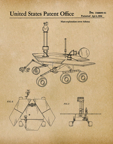 An image of a(n) Mars Rover 2004 - Patent Art Print - Parchment.