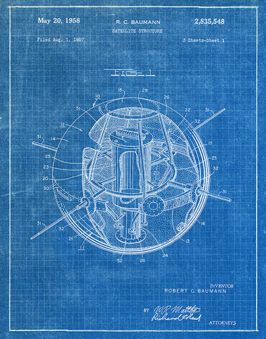 An image of a(n) Satellite 1958 - Patent Art Print - Blueprint.