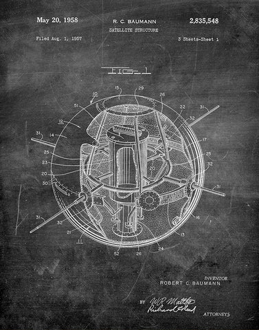 An image of a(n) Satellite 1958 - Patent Art Print - Chalkboard.