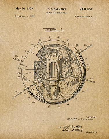 An image of a(n) Satellite 1958 - Patent Art Print - Parchment.