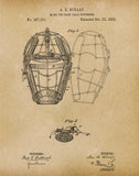 An image of a(n) Baseball Mask 1883 - Patent Art Print - Parchment.