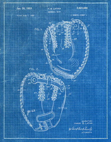 An image of a(n) Baseball Mitt 1953 - Patent Art Print - Blueprint.