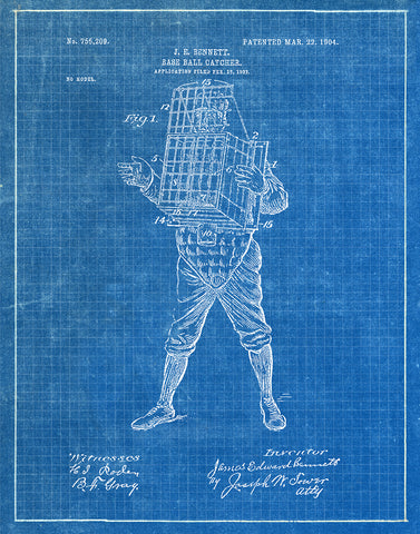 An image of a(n) Baseball Catcher 1904 - Patent Art Print - Blueprint.