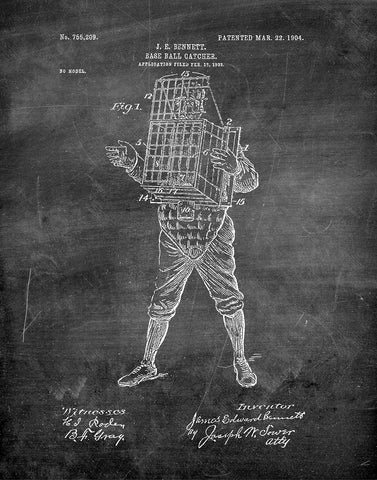 An image of a(n) Baseball Catcher 1904 - Patent Art Print - Chalkboard.