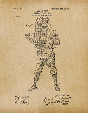 An image of a(n) Baseball Catcher 1904 - Patent Art Print - Parchment.