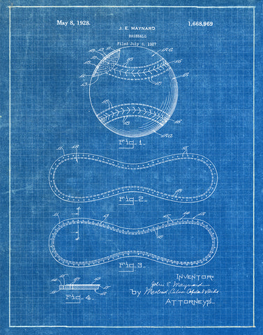 An image of a(n) Baseball 1928 - Patent Art Print - Blueprint.