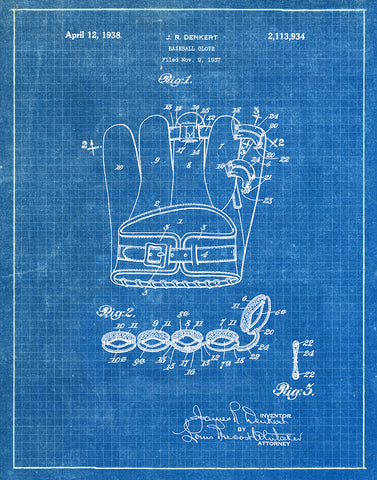 An image of a(n) Baseball Glove 1938 - Patent Art Print - Blueprint.