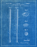 An image of a(n) Baseball Bat 1939 - Patent Art Print - Blueprint.