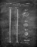 An image of a(n) Baseball Bat 1939 - Patent Art Print - Chalkboard.