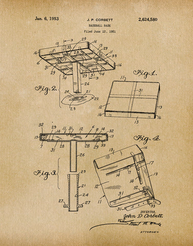 An image of a(n) Baseball Base 1953 - Patent Art Print - Parchment.