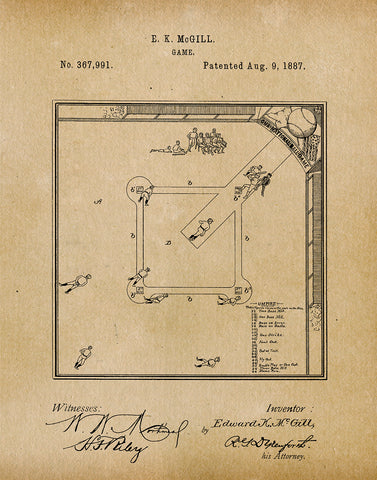 An image of a(n) Baseball Game 1887 - Patent Art Print - Parchment.