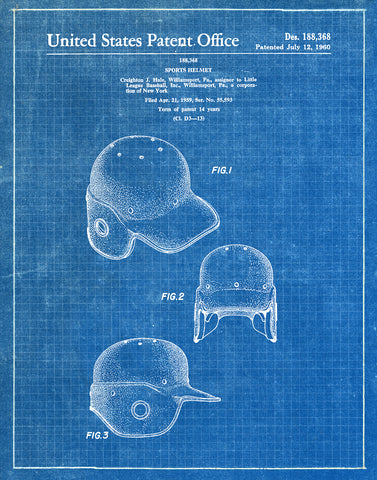 Baseball helmet 1960 patent art print blueprint fresh prints of ct an image of an baseball helmet 1960 patent art print blueprint malvernweather Image collections