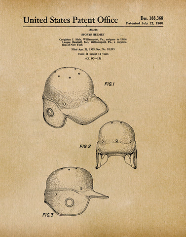 An image of a(n) Baseball Helmet 1960 - Patent Art Print - Parchment.