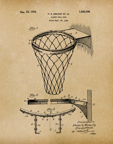 An image of a(n) Basket Ball Net 1924 - Patent Art Print - Parchment.